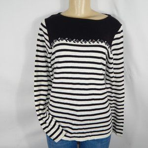 J Crew Breton-striped Sweater w Jewel Women Top